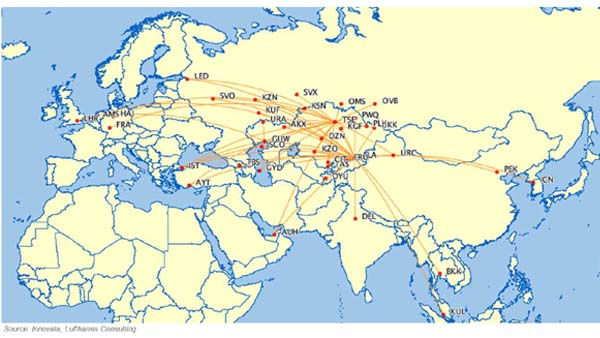 Air Astana's network in 2012